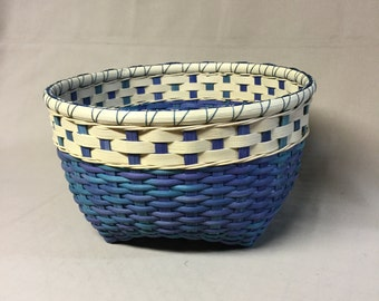 Round Cathead Basket , Hand Woven, Blended Colors of  Blue, and Teal