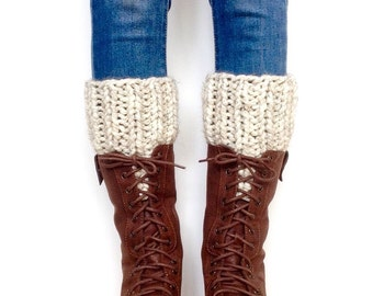 Cream Knit Boot Cuffs Chunky Knit Boot Warmers Ribbed Gray Leg Warmers bootcuffs legwarmer fall boot toppers warmers knitted winter wool cuf