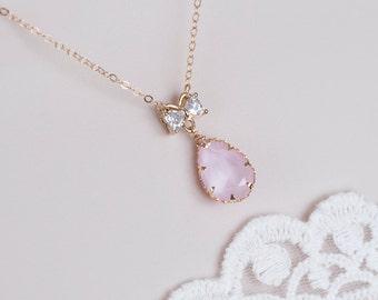 Pastel Rose Swarovski Crystal Necklace, Delicate Gold Necklace, Swarovski Soft Pink Necklace, Swarovski Crystal Powder Rose Necklace