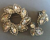 Vintage Weiss Brooch Earrings set demi parure in clear rhinestones and silver setting clip earring backs wedding jewelry