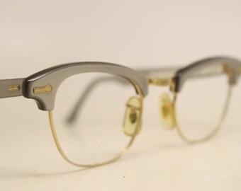 Gray combination cat eye eyeglasses  vintage cat eye glasses frames Cateye frames