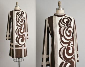 Vintage Paganne Dress // Vintage 70's Signed Abstract Op Art Print A Line Dress M