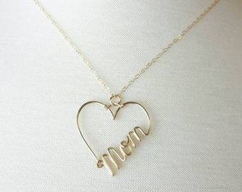 Mom Necklace, Name in a Heart, Custom Name, Gold Heart Necklace, Name Necklace, Personalized Jewelry, Name Jewelry, Jewelry gifts under 30