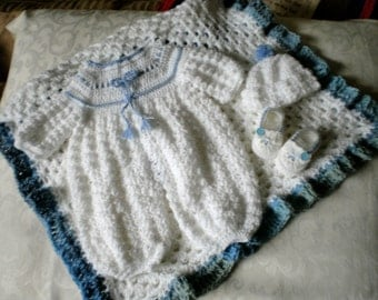 Baby Boy Baptism / Christening 4 Piece Set in 0 to 3 Months