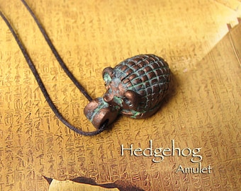 Hedgehog Amulet - Protection Amulet of Physical and Metaphysical Realms - Handcrafted Clay Pendant with Bronze Patina Finish