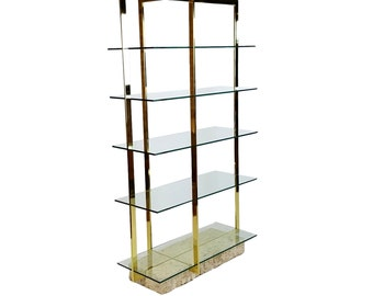 Brass Etagere with Faux Tesselated Marble Base