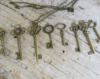SALE ~~ Key Pendant Long Boho Necklace, Bronze Key Cluster Pendant Necklace, Long Boho Key Pendant, by MagpieMadness for Etsy