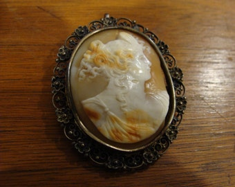 Victorian Filligree Sterling Shell Cameo Brooch or Pendant