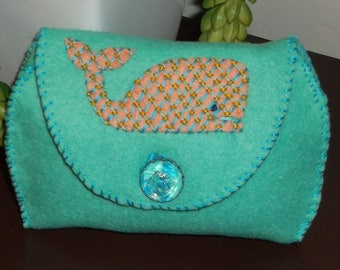 Handcrafted Embroidered Felt Clutch Coin Purse Bag Pouch -Sea Green With Whale