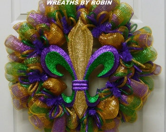 Mardi Gras, Fleur de Lis Wreath, Mardi Gras Decorations, Mardi Gras Decor, Fat Tuesday (2462)