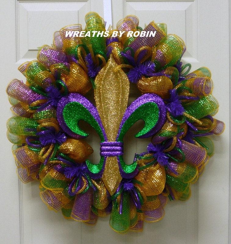 mardi gras fleur de lis wreath mardi gras decorations mardi gras decor - Mardi Gras Decorations