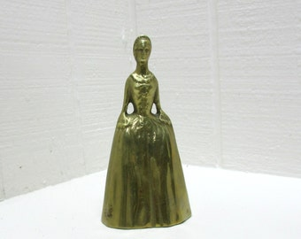 Vintage VIRGINIA METALCRAFTERS Colonial Lady In Dress Brass Hostess Bell