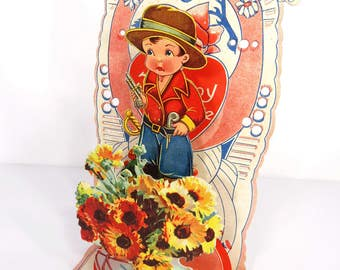 Vintage Little Pirate Boy Valentine Card, Fold Out, Honeycomb, Made in Germany, 1920s