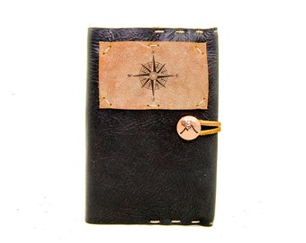 Small Leather Journal with True North Compass in Midnight Espresso