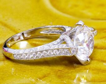 GIA H-VS2 14k white gold round cut diamond engagement ring, prong set, anniversary, wedding, propose, bridal, promise, 2.20ct