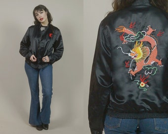 Black Satin Jacket Sukajan DRAGON Embroidered 80s Bomber Jacket Shiny 1980s Hipster Asian Souvenir Jacket UNISEX  / Size M Medium