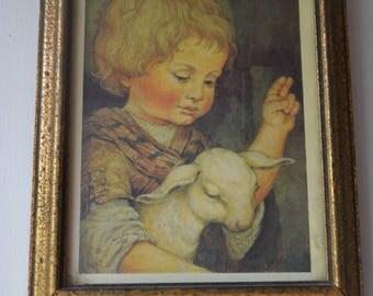 Vintage Religious Lithos of Child holding Lamb, 6x8, Framed Picture, Gold Frame