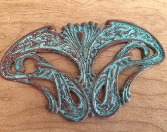 Brass Damsel Wings - Vintaj Stamped Brass w Homemade Verdigris - Thrice Baked Gingerbread Patina - Verdigris Pendant or Medallion