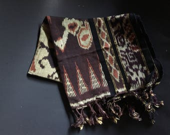 "Vintage Earth Tones Woven Ikat Scarf Mini Throw 24"" X 36"""
