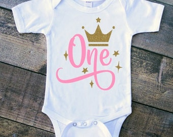 "Infant Girl ""ONE"" Pink and Gold Glitter First Birthday with Gold Tiara Crown - WHITE Baby Onesie Bodysuit - First Birthday Shirt Smash Cake"