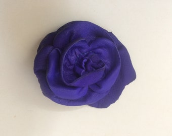 Purple leather flower rose hat pin brooch by Tuscada. Ready to ship.