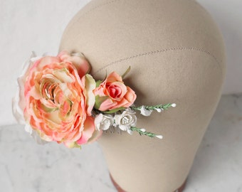 Silk Flower Comb, Bridal Hair Comb, Floral Headpiece, Ivory Hair Comb, Peach Flower Crown, Flower Headdress, Summer Wedding Hair Accessory