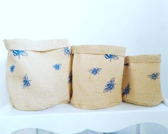 Hessian Eco Pot Set of 3, Bumble Bee Print