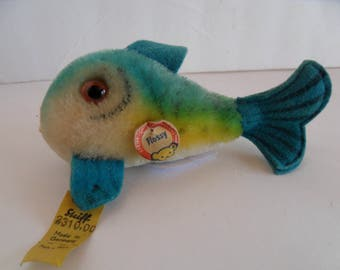 Steiff Fish blue mohair all Ids made in Germany 2002