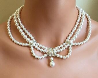 COMPLETE Bridal Jewelry Set Pearl Necklace Bracelet Earrings 3 multi strand Swarovski pearls Vintage Victorian style Ivory Silver wedding