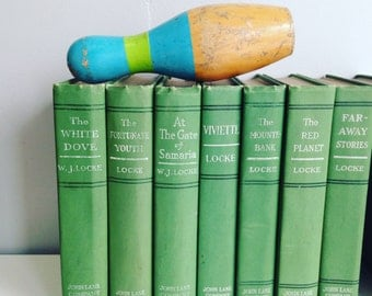 Vintage Green Books by the Foot William Locke Instant Library Decorative Book Stack  Books for Wedding, Bookshelves , Display Etc