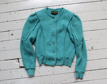 Geiger Jacket XS • Cardigan Sweater Made in Austria • 80s Cardigan • Teal Sweater • Felted Wool Sweater • Wool Cardigan Sweater | O370