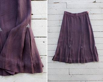 40s Purple Skirt XS/S • Pleated Midi Skirt • High Waisted Skirt • Vintage Skirt • Pleated Skirt • Flared Skirt • Preppy Skirt   SK498