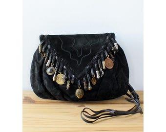 Suede Sharif Bag • Black Crossbody Purse • 80s Purse • Sharif Handbag • Black Suede Bag • Suede Crossbody Bag • Black Leather Bag  | B739