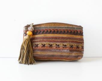 Sharif Clutch • 80s Purse • Tassel Clutch • Zip Pouch • Leather Clutch • Clutch Purse • Sharif Handbag   B801