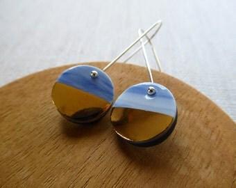 2 Tone Ink Marble and Black Disc Long Hook Earrings