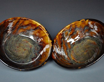 Pair of Dark Umber Ceramic Pottery Bowls  A