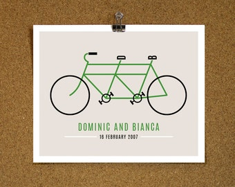 Personalized Art Print / 'Retro Tandem Bike' Fun Cycling Print / Your Initials, Names, Date / Wedding Signage / Romantic Gift / SMALL SIZE