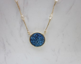 Estate Blue Druzy Quartz Pendant and 14k Solid Yellow Gold Necklace