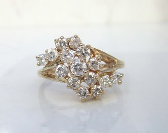 Vintage 14k Solid Yellow Gold Diamond Cluster Spray Ring over 1.50 Carats of Diamonds, Size 7.75