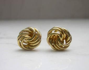 Estate 14k Solid Yellow Gold Love Knot Earrings Studs, Posts