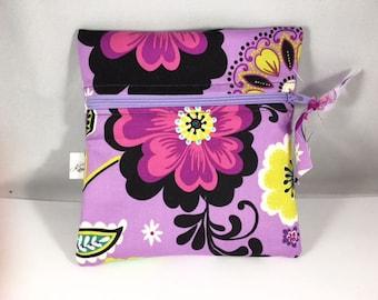 Wet Bag Cloth Pad Wet Bag Purple Floral
