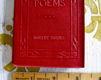 "Antique Red Little Leather Small Book POEMS Robert browning New York Little Leather Library Corporation 1920""s"