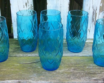 6 Vintage Peacock Blue Textured Glasses Tumblers Juice Glass Shabby Chic Cottage Decor Kitschy Decor Kitchen Decor Barware