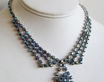 HOLIDAY SALE Vintage 50s Iridescent Blue Faceted Glass Aurora Borealis Rhinestone Designer Hollywood Starlet Necklace