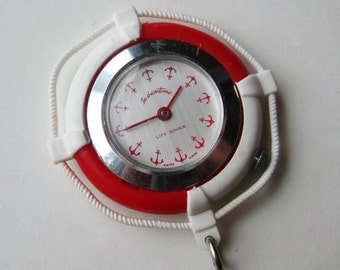 Hey Sailor! Vintage Nautical Buoy First Mate Life Saver Watch Necklace Pendant