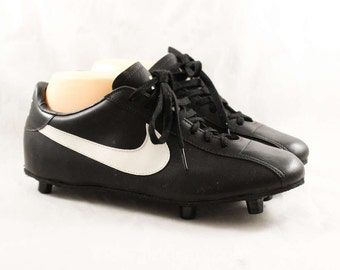 Size 7 Men's Nike Football Cleats - 1980s Athletic Shoes - Black Mens Retro Sports Sneakers - Authentic Nike - NOS 80s Deadstock - 47867-1