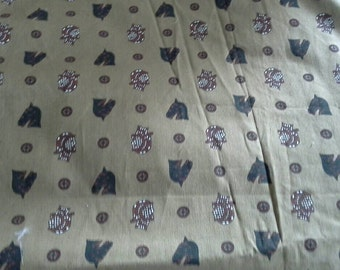Mosaic Greek Horses and Warriors on Tan Background Vintage Cotton Fabric 2 1/2 Yards X0689