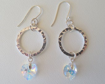 Swarovski Crystal Heart and Hammered silver earrings