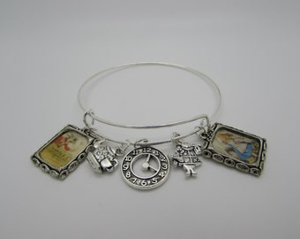 Alice in wonderland inspired  Bracelet bangle charm bracelet book cover