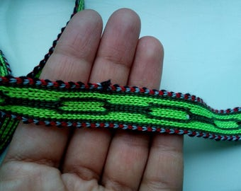 Uzbek handwoven cotton trim Jiyak. Tribal ethnic, boho, hippy trim. TR021